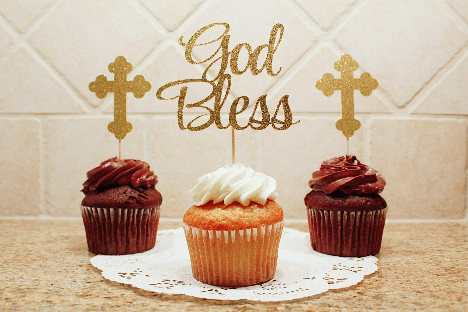 JeVenis 25 PCS Glittery God Bless this Child Cake Topper Baptism Cupcake Toppers Cross Cupcake Topper Angel Fairy Cake Topper Baptism Party Decorations Favor Wedding Birthday Cake Decor by JeVenis (Image #3)