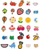 JINSELF ワッペン 子供用 30枚セット 動物 花 保育園 幼稚園 ひざあて アップリケ child