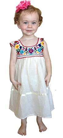 Natural Cotton Guaze Embroidered Mexican Peasant Dress Girls Youth Baby  (Size 2)