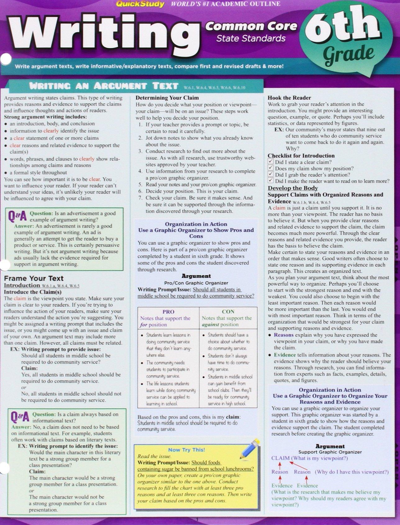 Read Online Writing Common Core 6Th Grade (Quick Study) ebook