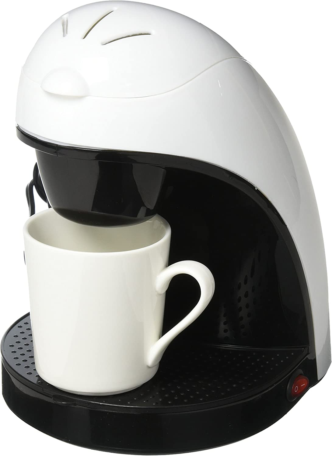 Brentwood TS-112W Coffee Maker with Ceramic Mug, Single Serve, White