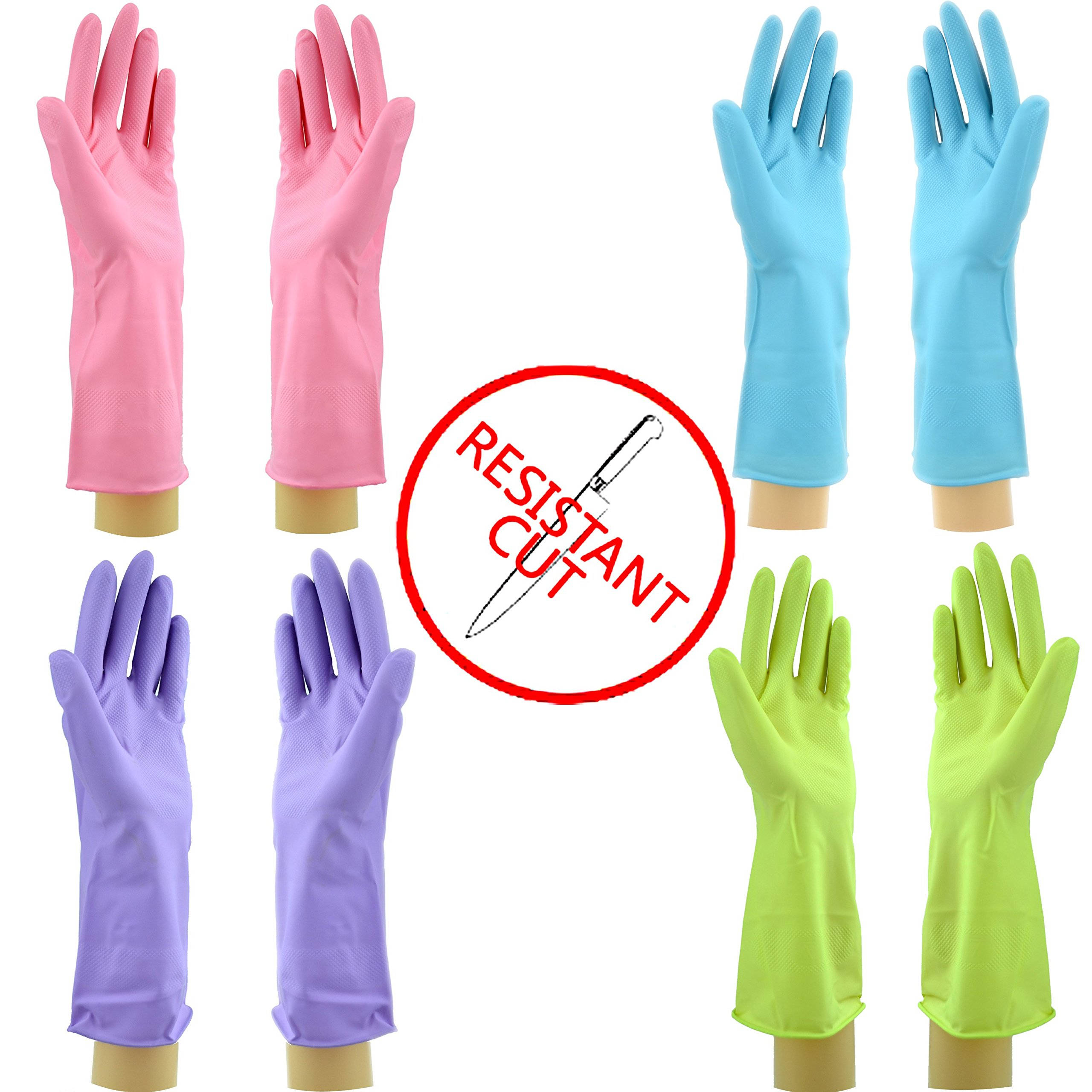 Star Quality Cut Resistant Kitchen Gloves 4 Pairs Set | Durable Latex Gloves Odor Free | Reusable Bathroom Gloves in 4 Colors | Great Value Pack of 2 Pairs M and 2 Pairs L knife-resistant Gloves