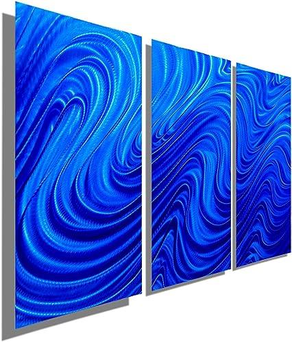 Statements2000 Blue Metal Wall Art Sculpture – 38 x 24 Modern Contemporary Wall D cor by Jon Allen – Blue Hypnotic Sands 3P