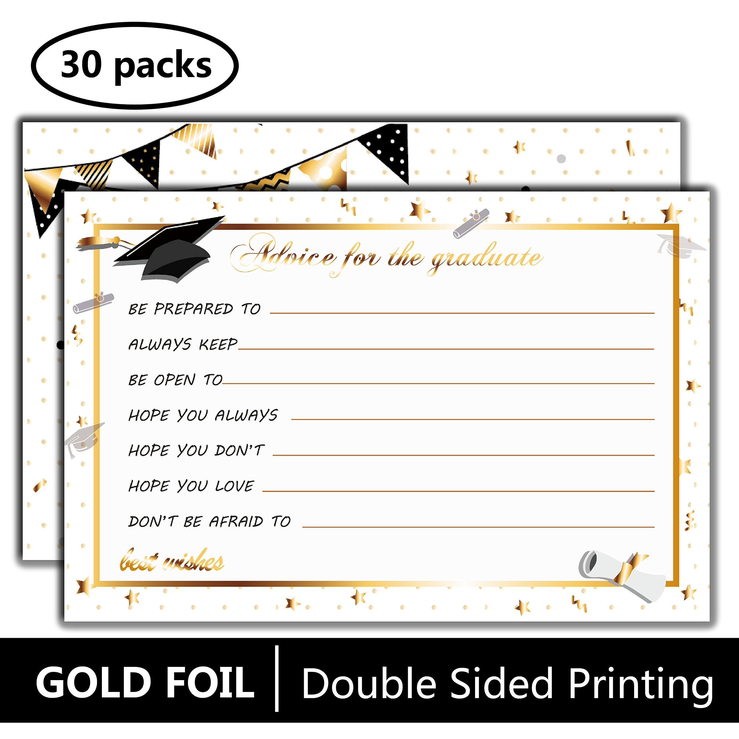 Graduation Party Advice Cards for Graduate-30 Pcs with Gold Foil Embossed-Grad Supplies,Favor,Decoration,Activities,Invitation,Game-Word of Wisdom for Class of 2018 High School,College,University