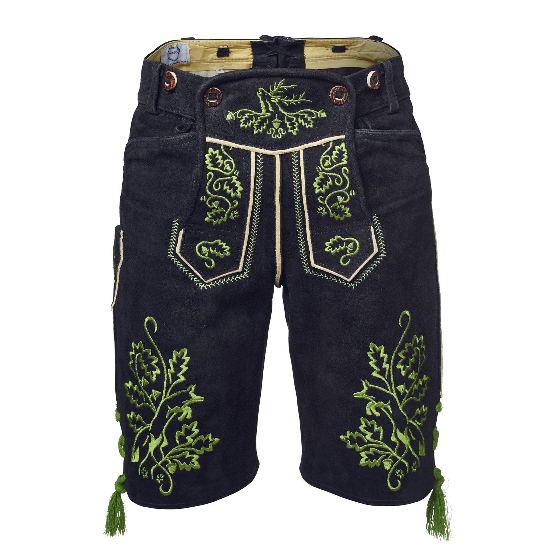 GaudiHerz Lederhose in schwarz und grünem Stick - Die Lederhosn ist eine Designer-Tracht mit Wildbock-Leder in Top-Qualität für dein perfektes Erlebnis auf dem Oktoberfest oder der Wasen