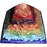 Orgone Pyramid with EMF Protection - Pyramid of Giza geometry, vortex at crown for robust energy flow, generous metal to resin ratio, rainbow of gemstones, nice size quartz inside, weighs over a pound