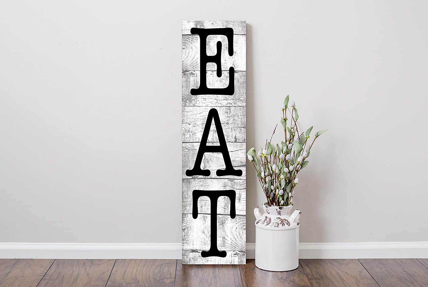 24 Inch Eat Vertical Wood Print Kitchen Sign