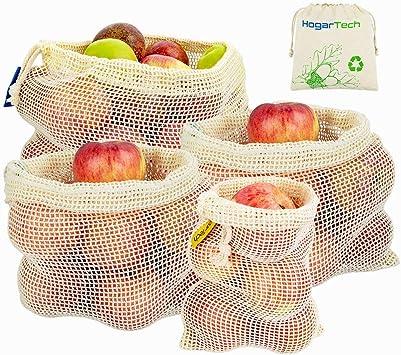 Bolsas Reutilizables de Frutas y Verduras, Bolsas de Suministros de Algodón Juego de 4 Bolsas de Rejilla | Bolsa de Comida (1*S, 2*M, 1*L): Amazon.es: Juguetes y juegos