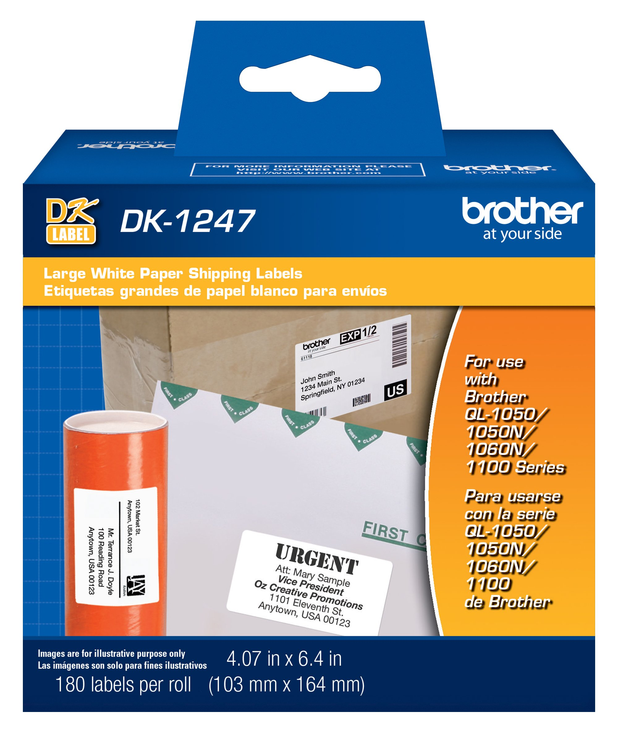 """Brother Genuine DK-1247 Die-Cut Large Shipping White Paper Labels for Brother QL Label Printers – 180 Labels per Roll 4.07"""" x 6.4"""" (103mm x 164 mm)"""