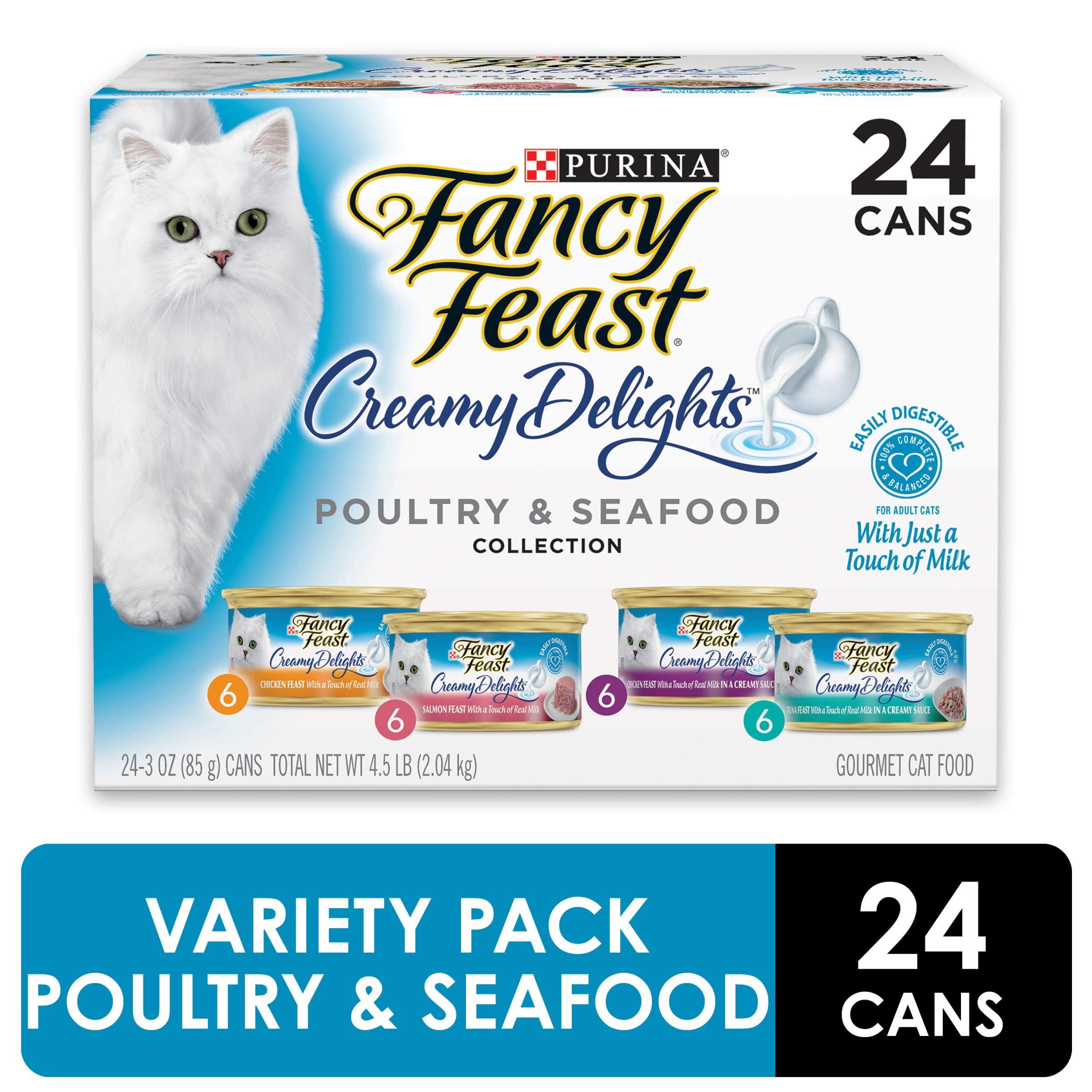 Purina Fancy Feast Wet Cat Food Variety Pack, Creamy Delights Poultry & Seafood Collection - (24) 3 oz. Cans by Purina Fancy Feast