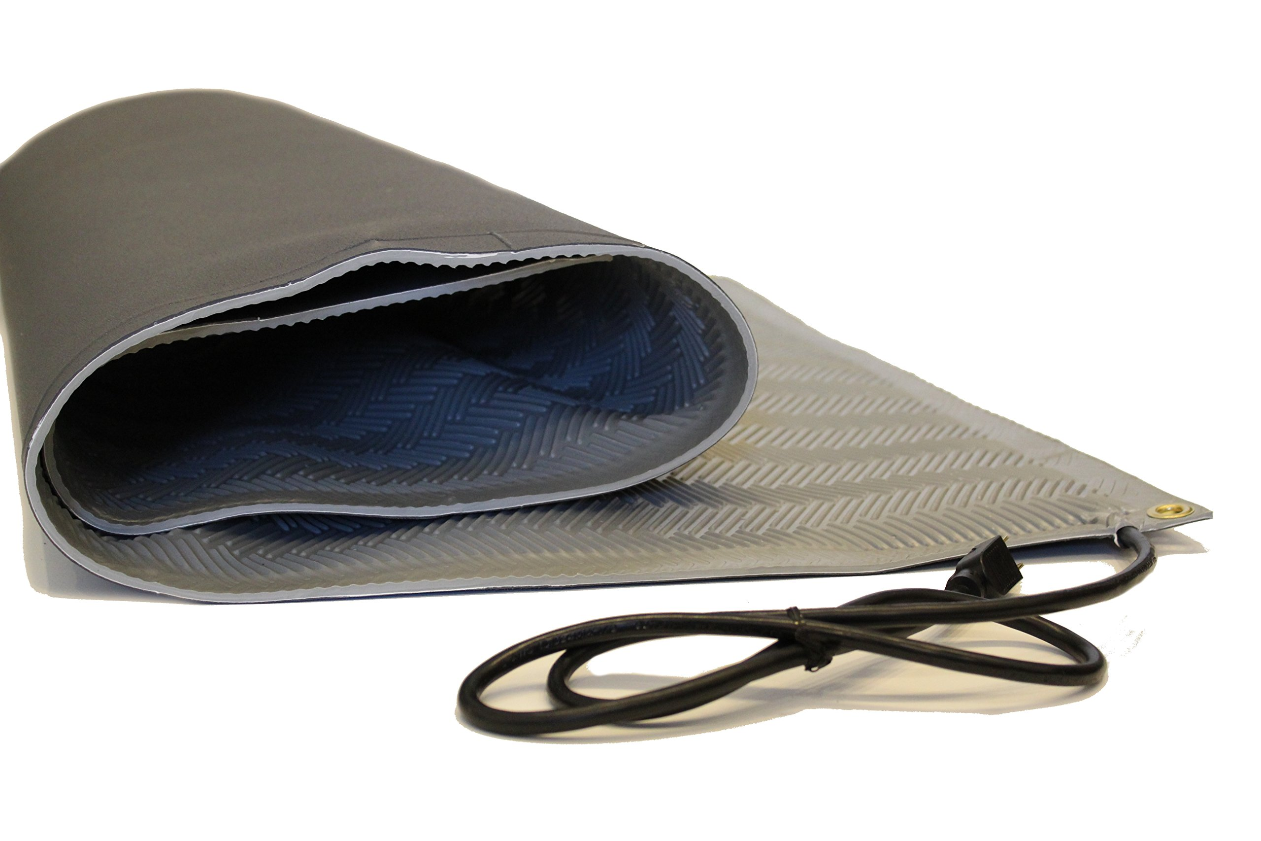 RHS Heated Mat, Snow Melting Mat, Non-slip Herringbone Design, Sizes Available, Color Gray, Outdoor Mat, Melts up to 2'' inches of Snow Per Hour (30''in x 4'ft)