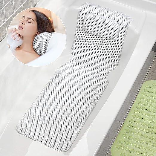 US Bathtub Spa Bath Pillow Mattress Full Body Luxury Quilted Mat /&Bath Pillow