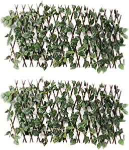 Retractable Trellis Fence w/Artificial Vines, Wooden Hedge Expandable Privacy Fence Screen, Indoor Outdoor Decorative Fences for Home Garden Backyard Greenery Walls Decor