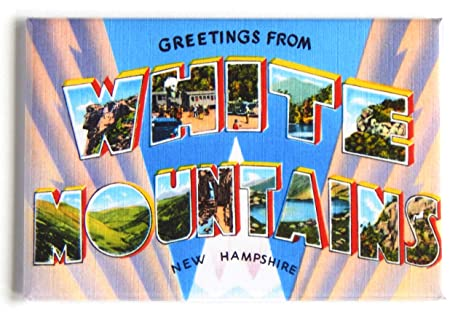 MAGNET Greetings From Photo Magnet WHITE MOUNTAINS New Hampshire  1930s 1940s