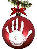 Tiny Ideas Babyprints DIY Handprint or Footprint Holiday Ball Ornament, Red