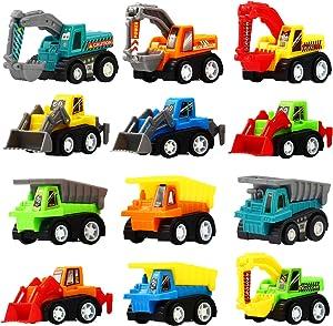 Funcorn Toys Pull Back Car, 12 Pcs Mini Truck Toy Kit Set, Play Construction Engineering Vehicle Educational Preschool for Children Boys Party Favors, Kids Birthday Game Gift Playset Classroom Reward