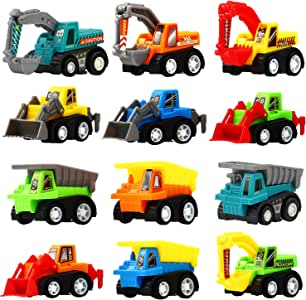 Pull Back Car 12 Pcs Mini Truck Toy Kit Set Funcorn Toys Play Construction Engineering Vehicle Educational Preschool for Children Boys Party Favors Dumper Truck Excavator Kids Birthday Gift Playset