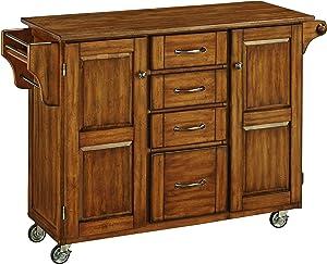 Create-a-cart Warm Oak 2 Door Cabinet Kitchen Cart with Oak Top by Home Styles