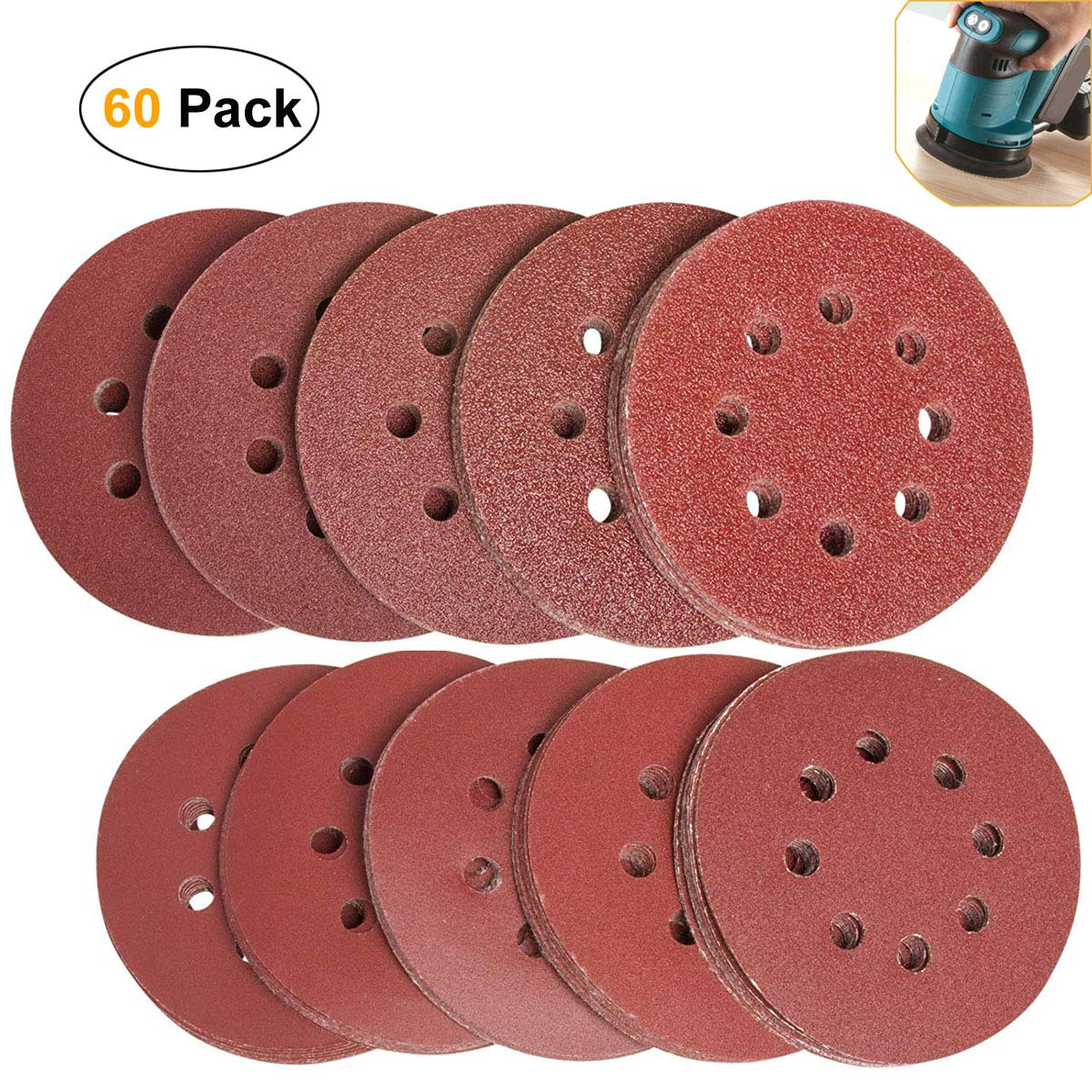 60Pcs Sanding Discs Pads, Augola Hook and Loop 40 60 80 100 120 150 180 240 320 400 Mixed Grits 125mm Sander Paper for Random Orbital Sander, 8-Holes