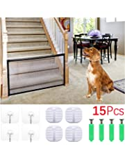 Set of 15 Pieces,Magic Gate Portable Folding Mesh,Safety Enclosure Safe Guard,Include 8 Pieces Sticky Hook,4 Pieces Screw,1 Black Net,Pet Safety Gate Install Anywhere for Dog Cat Baby
