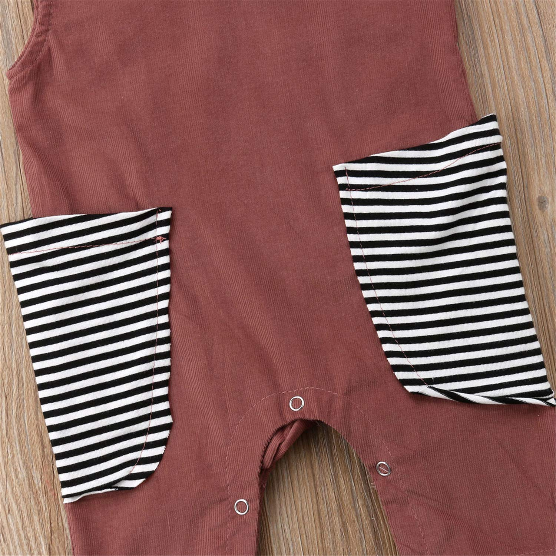 Cute Newborn Toddler Infant Kids Baby Girls Boys Romper Playsuit Jumpsuit Outfit Pocket Patchwork