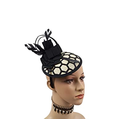 Exotic Sinamay Round Base Lace Net Cover Fascinator Headband Derby Racing  Hats (Black Gold 07d6c66a862