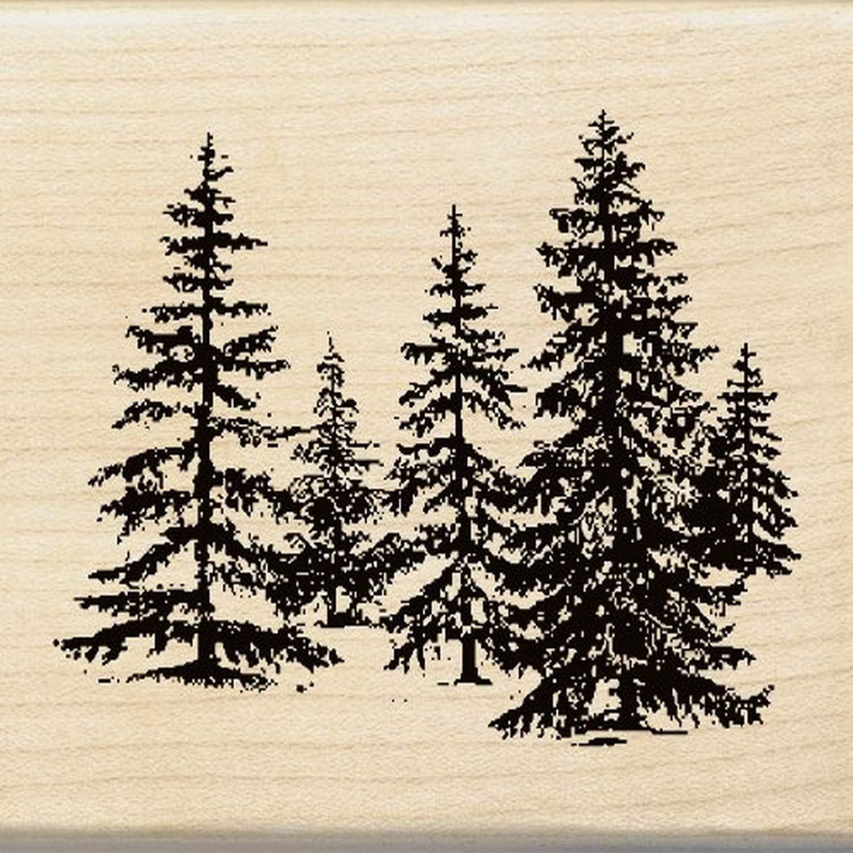 Inkadinkado Pine Tree Wood Stamp for Arts and Crafts, 2.25'' W x 2.5'' L