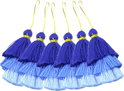 KONMAY 10pcs 1.4 3.5cm Tiny Tri-Layered Tassels with Gold Jump Ring for Jewelry Making Clothing