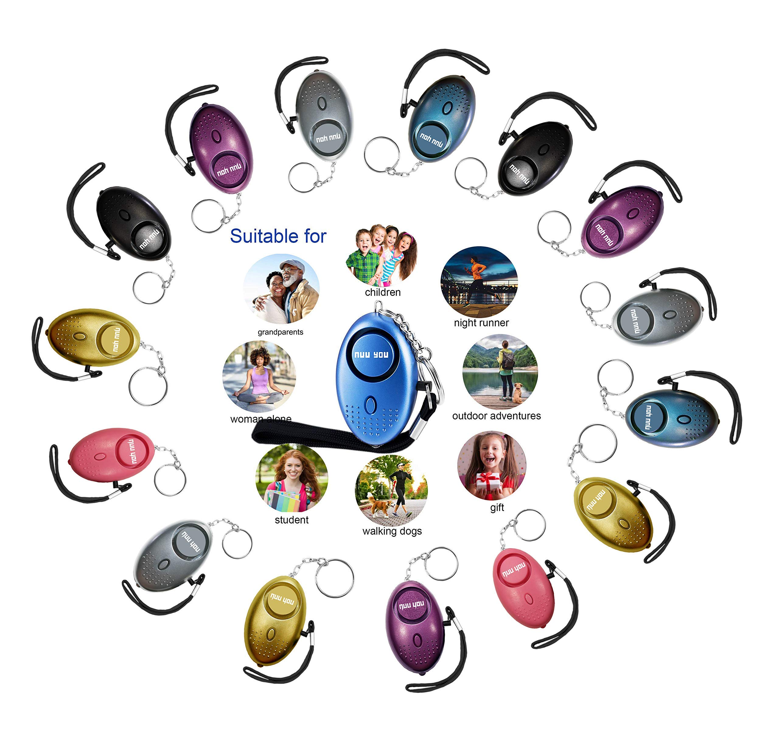 Personal Alarms for Woman Siren 140 DB with LED Light (4 Pack) Small Safety Sound Alarm Keychain for Personal Alarm Women/Kids/Girls/Elderly Self Defense Device Policeman Recommend (Multicolor 15PACK) by Nuu You