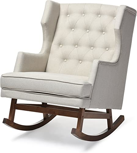 Baxton Studio Iona Mid-Century Retro Modern Fabric Upholstered Button-Tufted Wingback Rocking Chair