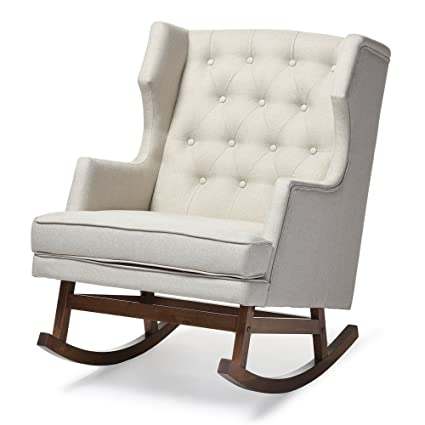 Delicieux Baxton Studio Iona Mid Century Retro Modern Fabric Upholstered  Button Tufted Wingback Rocking Chair