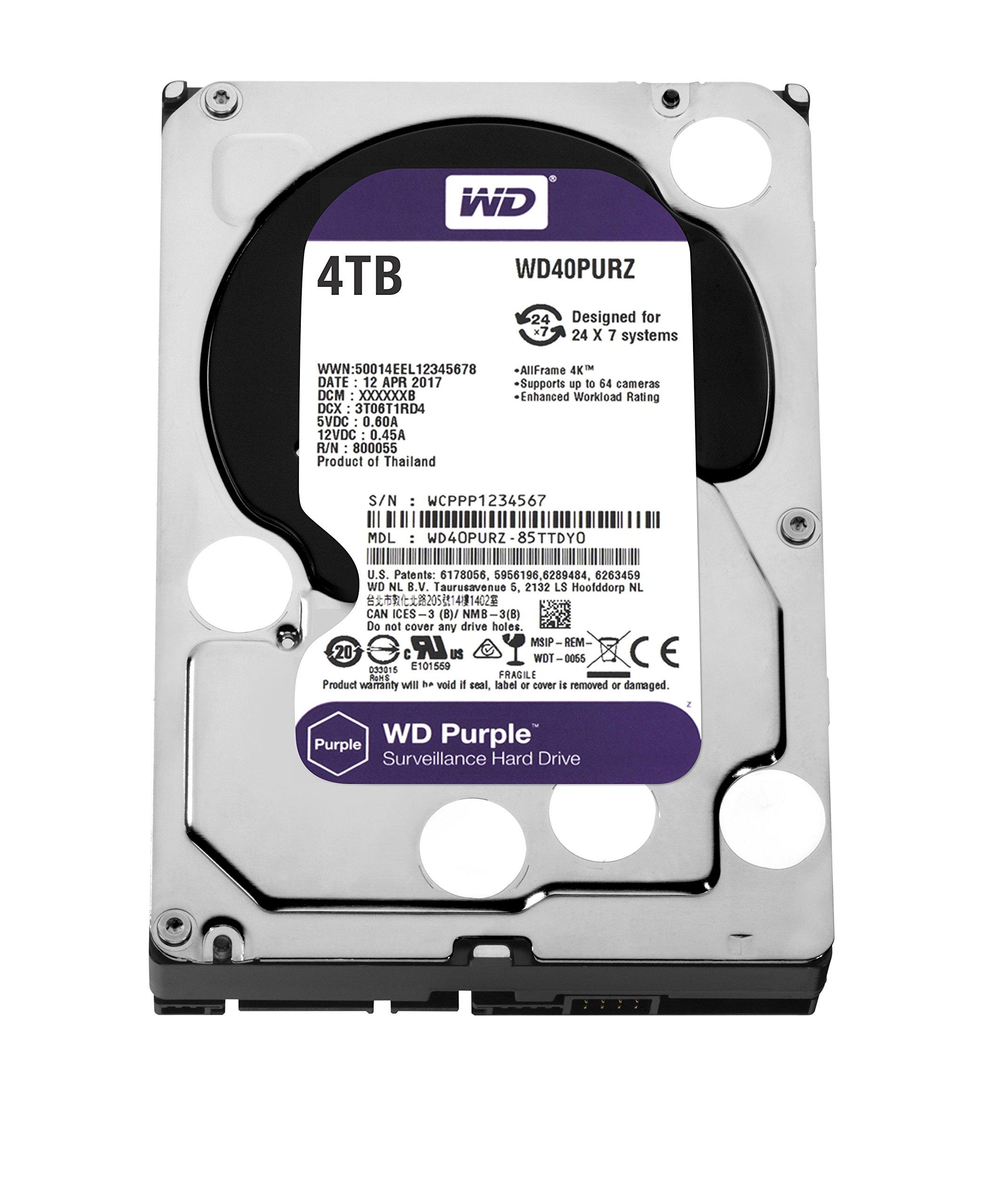WD Purple 4TB Surveillance Hard Disk Drive - 5400 RPM Class SATA 6 Gb/s 64MB Cache 3.5 Inch - WD40PURZ by Western Digital