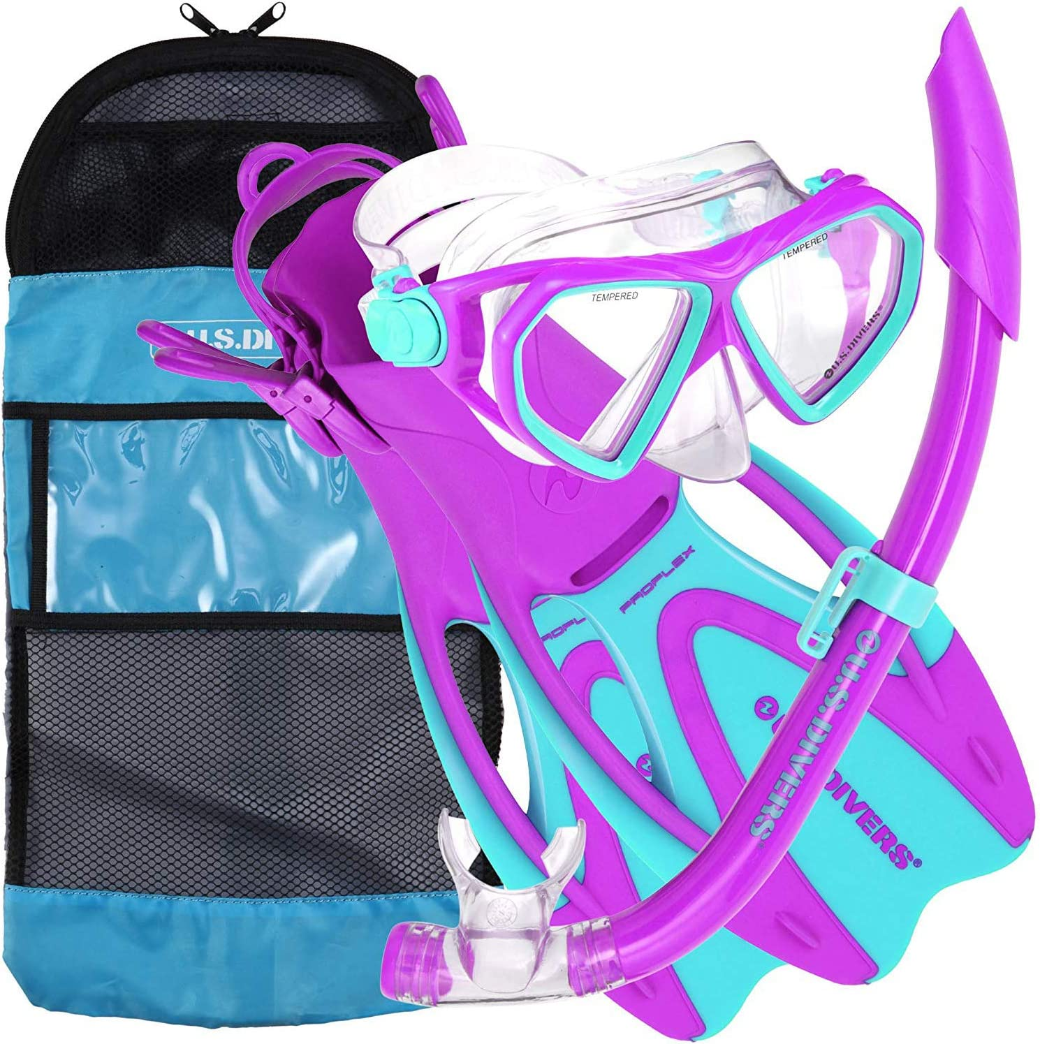 Divers Youth Silicone Snorkeling Set Large L 5-8 Snorkel Fin Blue Green for sale online U.s