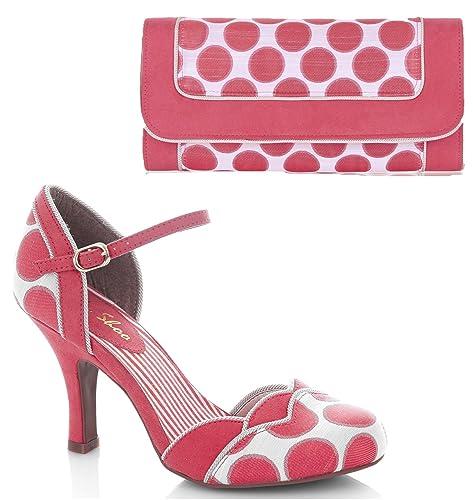 Ruby Shoo Women s Coral Spot Phoebe Bar Shoes   Matching Charleston Bag UK  ... 3e7685eccf
