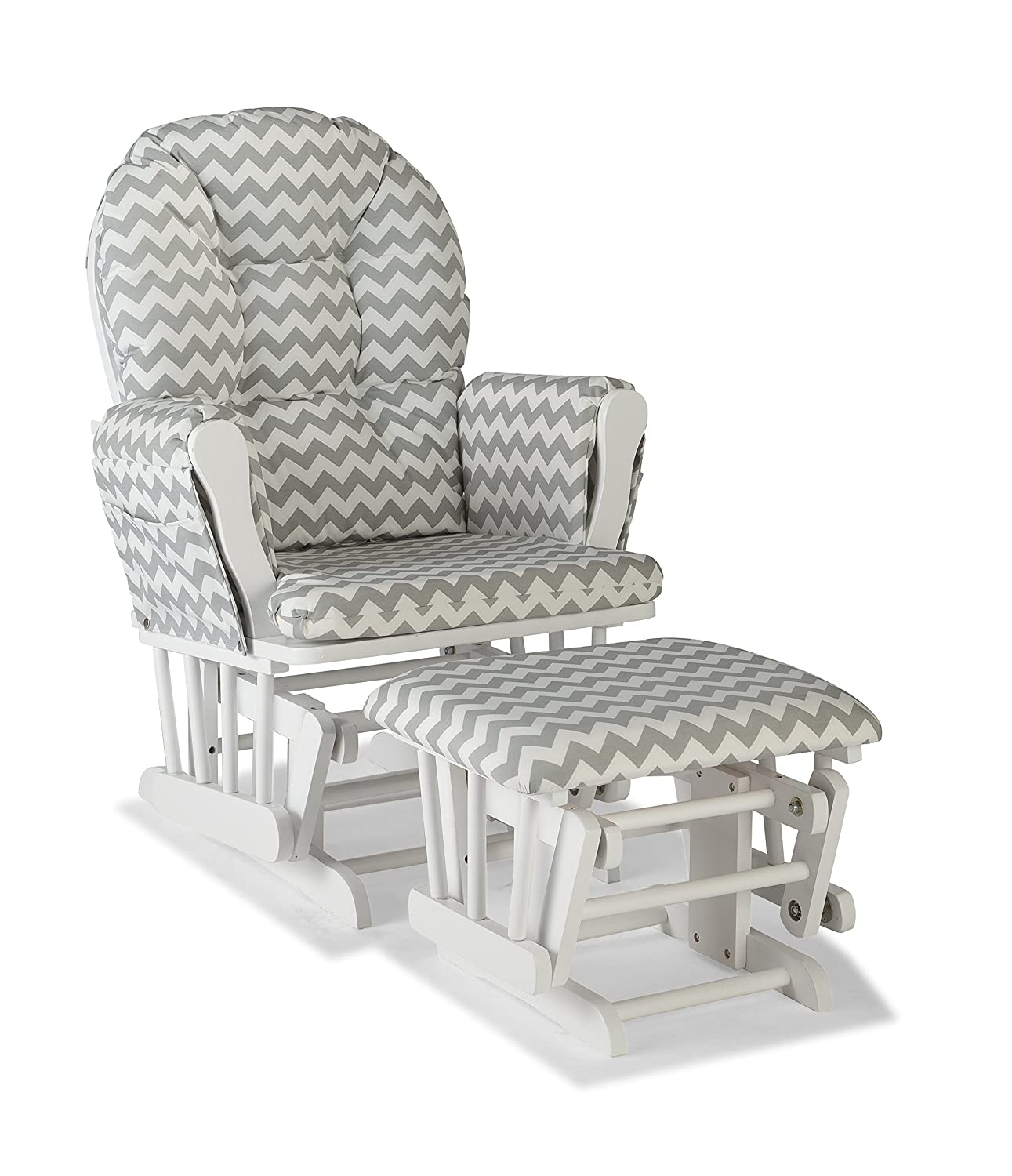 Storkcraft Hoop Custom Glider and Ottoman, White/Gray Chevron 06550-6101