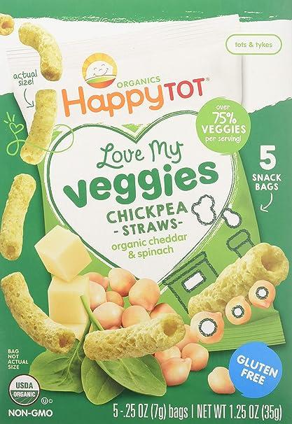 HappyFamily - HappyTot orgánica amor mi Cheddar de paja de garbanzo verduras y espinaca - 5Paquete