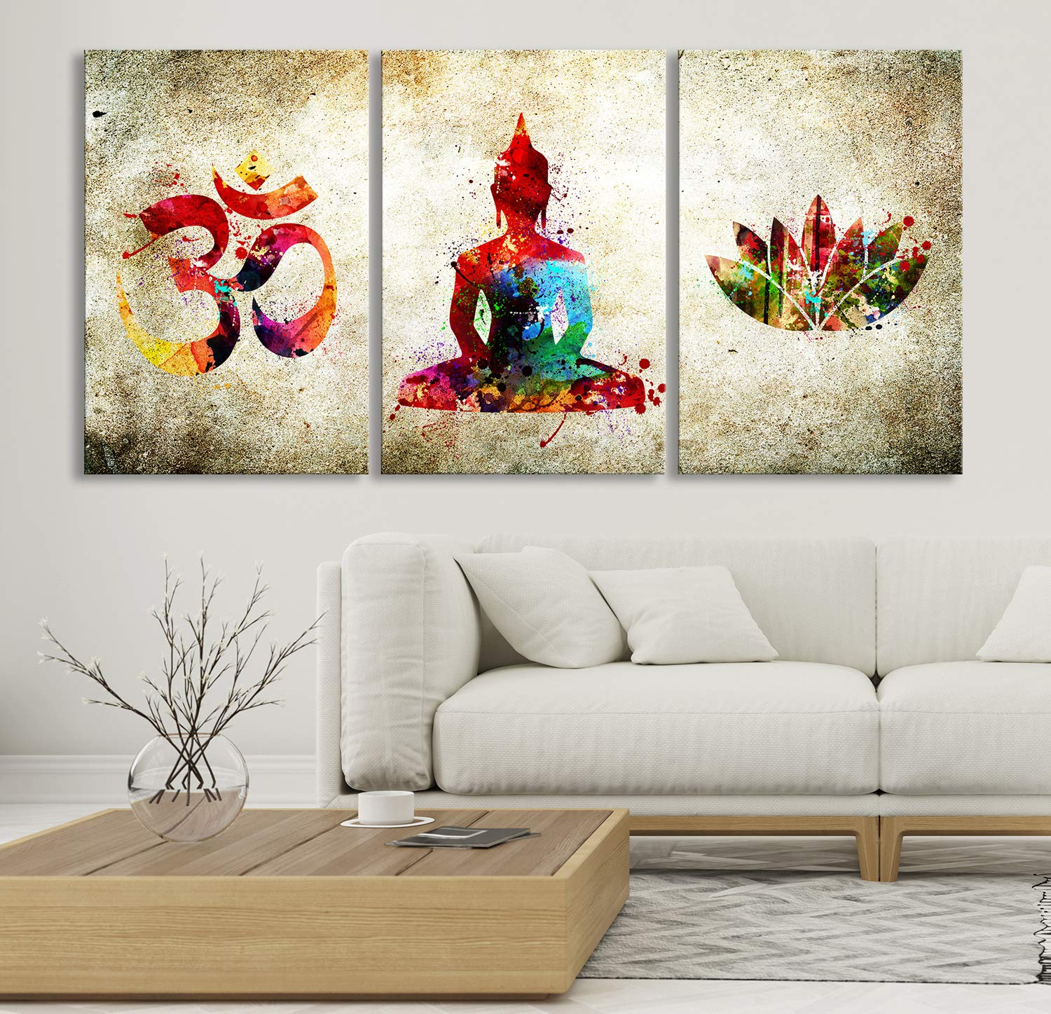 Amazon Com Decorative Watercolor Buddha Wall Art Canvas Print