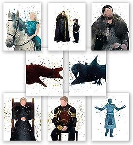 PGbureau Game of Thrones Wall Art Posters – Set of 8 Got Home Decor Prints – Daenerys Targaryen – Jon Snow – Cersei Lannister – Tyrion – Jaime – Night King (11x14)
