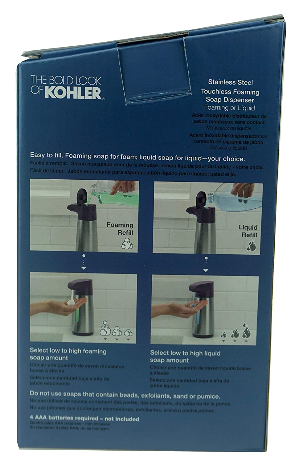 Amazon.com: Kohler Stainless Steel Touchless Foaming Soap Dispenser, Black Plum, 8.45 oz (250 ml): Home & Kitchen