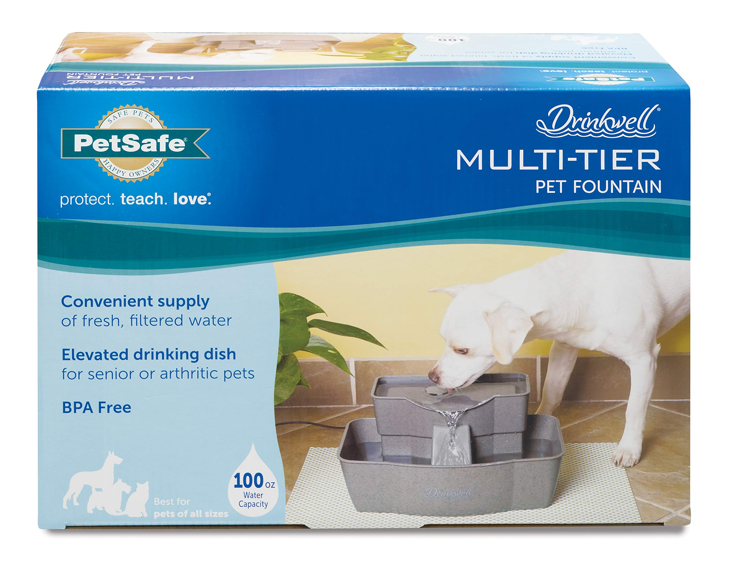 PetSafe Drinkwell Multi-Tier Dog and Cat Water Fountain, Automatic Drinking Fountain for Pets, 100 oz. Water Capacity - PWW00-13708 by PetSafe (Image #5)
