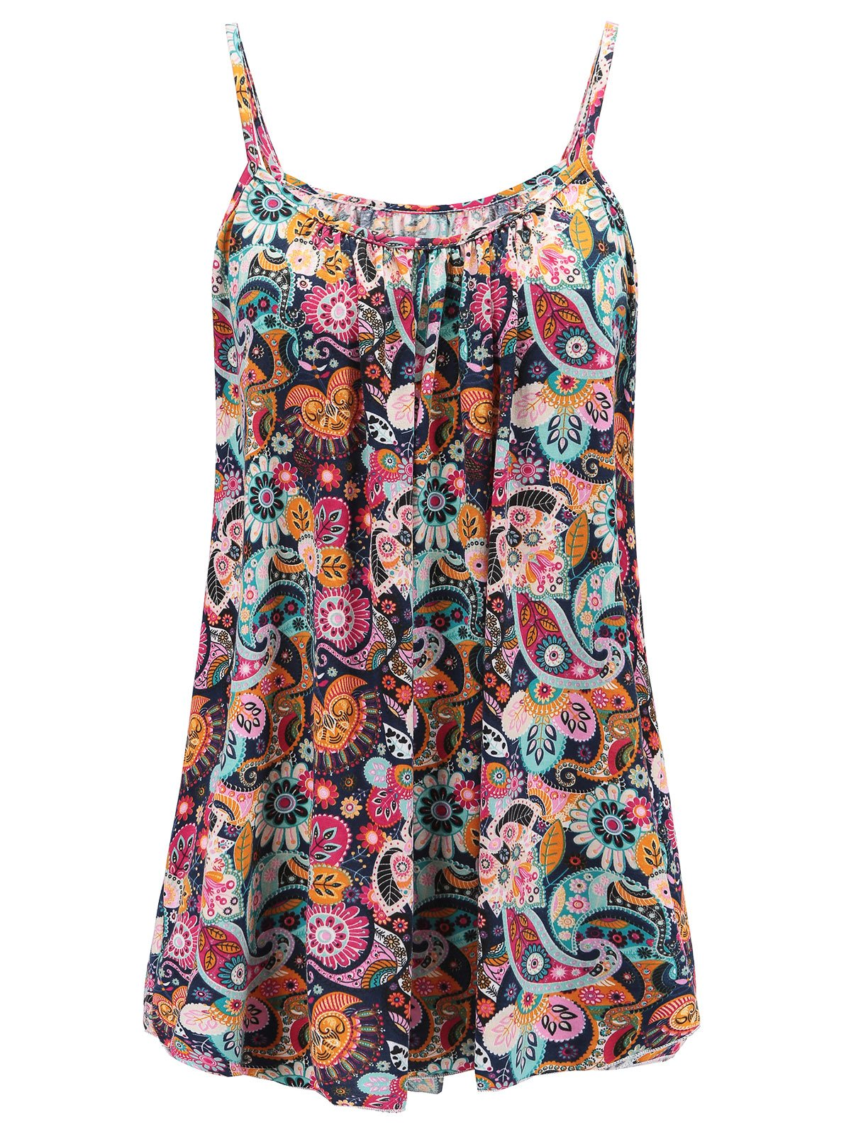 7th Element Womens Plus Size Cami Basic Camisole Tank Top (Floral Print - Boho 01,XL)