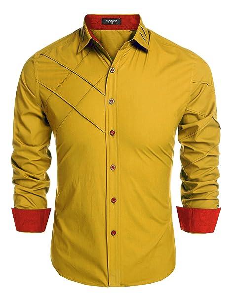 Coofandy Camisa de Vestir Hombre Manga Larga de Trabajo Multcolor de  Algodón  Amazon.es  Ropa y accesorios 52ab069407b