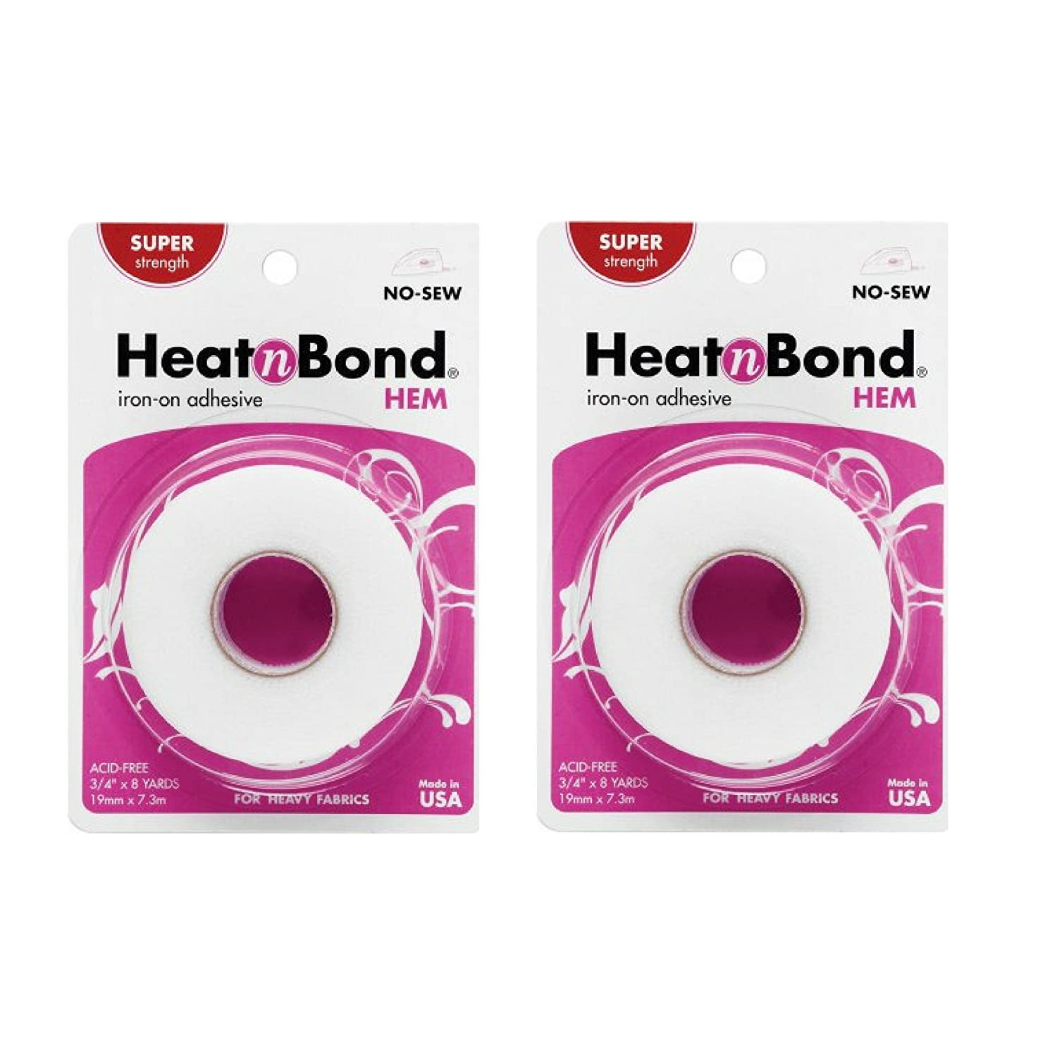 3//4 Inch x 8 Yards 2 Pack bond HeatnBond Hem Iron-On Adhesive Super Weight