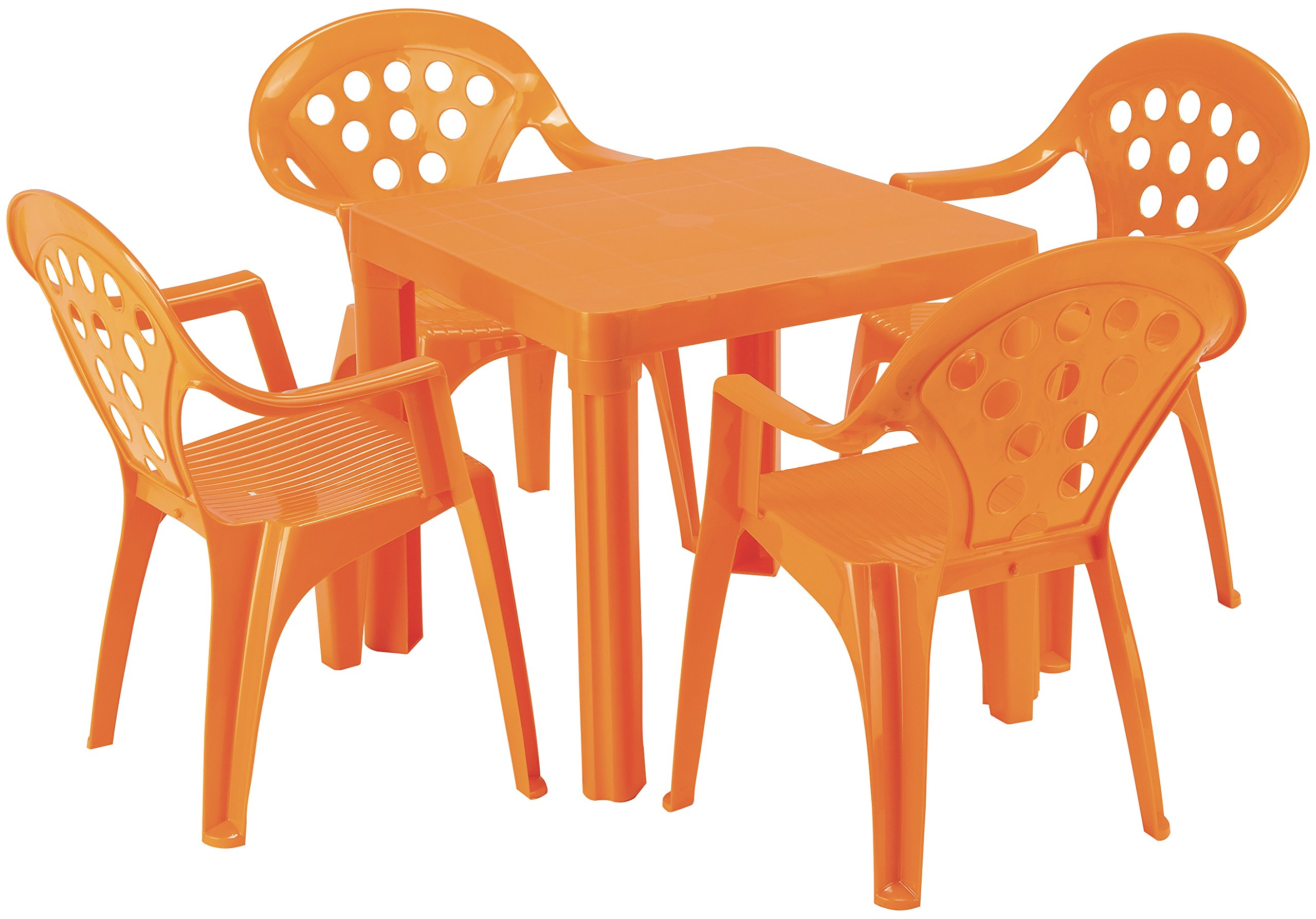 Baby Lulu Grand Soleil Children's Outdoor and Indoor Table and Chair Set - 4 Chairs - Made in Italy to European Standards with PolyPure - (Orange)