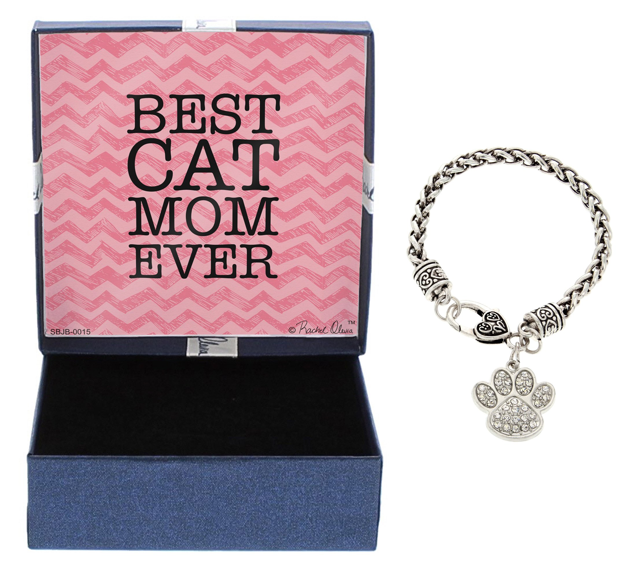Mother's Day Gifts Best Cat Mom Ever Bracelet Silver-Tone Love Spelled with Cat Pawprint Charm Bracelet Jewelry Box Keepsake Gift for Cat Lover Gifts Crazy Cat Lady Bracelet