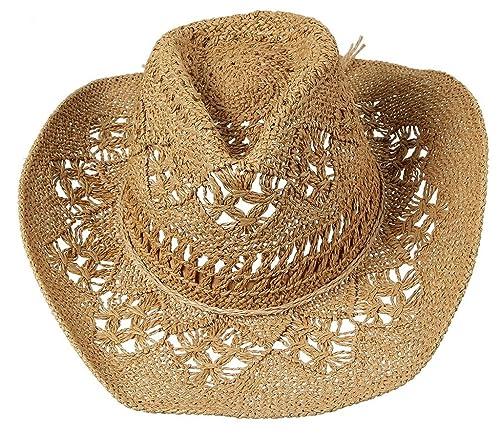 EOZY-Cappello da Spiaggia Sole Vuoto Fiocco Estate Donna Hats in Paglia