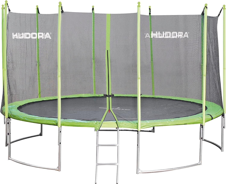 Garten-Trampolin mit Sicherheitsnetz und Randabdeckung sowie Leiter nur bei 400 cm gr/ün//schwarz - Einkarton-Variante HUDORA Family Trampolin 300-400 cm