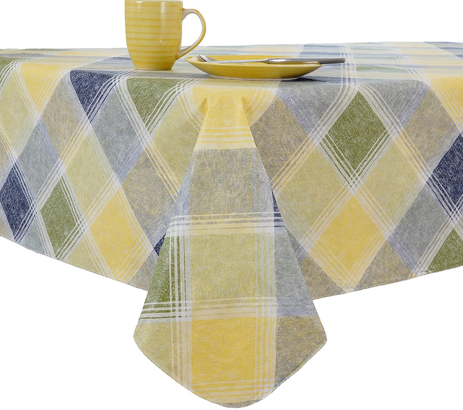 EVERYDAY LUXURIES Harmony Plaid Flannel Backed Indoor Outdoor Vinyl Table Linens, 90-Inch Round, Blue
