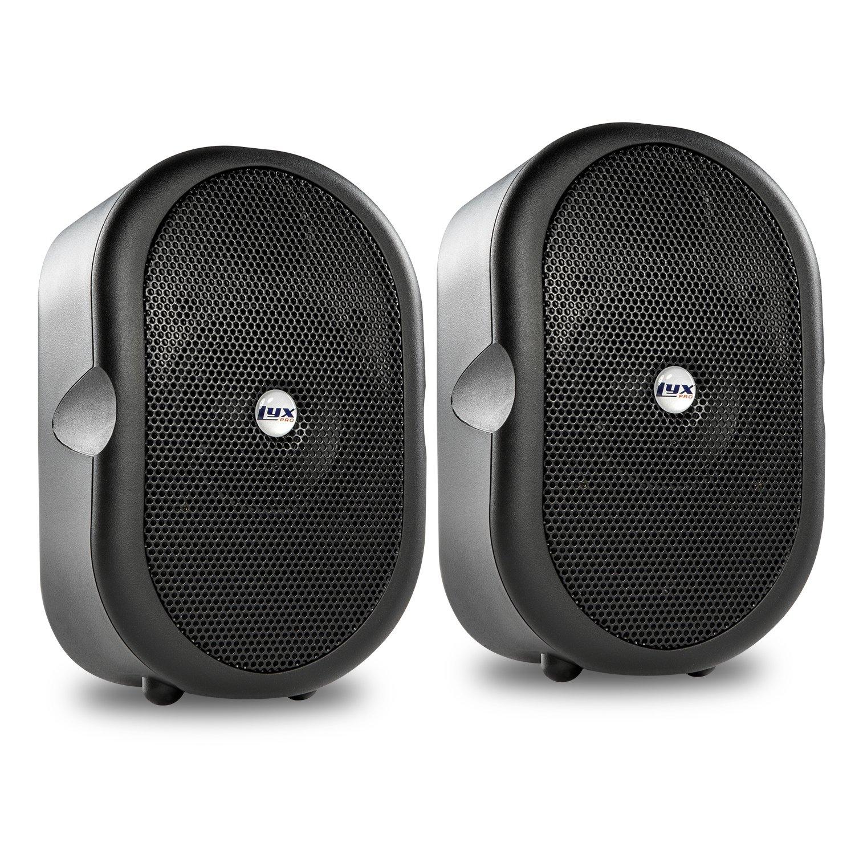 LyxPro MSW-3 Pair of Mini Bluetooth 40-Watt Active Speakers for Indoor Restaurants, Shops, Exhibitions, Multimedia, Home Recording & Audio/Video Production - Black