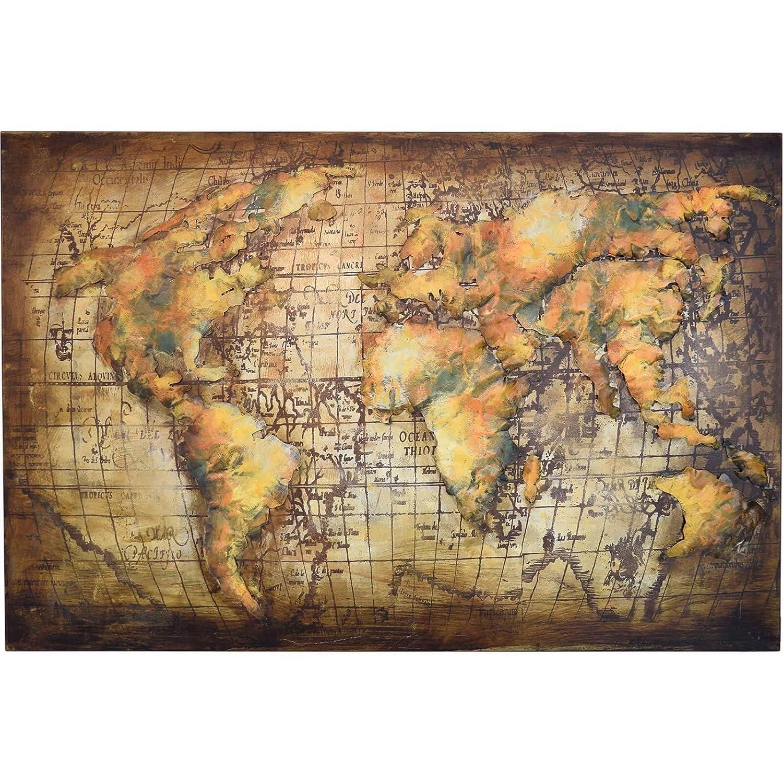 M/ÖBEL IDEAL 3D Metallbild Weltkarte Wandbild 120 x 80 cm Bild Erde aus Metall in Handarbeit Earth